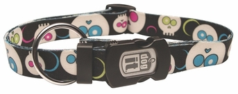 """Dogit Style Adjustable Nylon Collar with plastic snap - Da Face, Black, Small 3/8""""x 10""""-16"""" , From Hagen"""