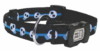 """Dogit Style Adjustable Nylon Collar with plastic snap - Electric Skulls, Blue on Black nylon, Small 1/2""""x 10""""-16"""" , From Hagen"""