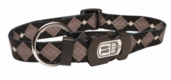 """Dogit Style Adjustable Nylon Collar with plastic snap & ID plate- Argyle, Grey, X-Large 1""""x 18""""-26"""" , From Hagen"""