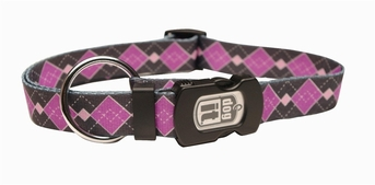 """Dogit Style Adjustable Nylon Collar with plastic snap & ID plate- Argyle, Purple, Large 3/4""""x 16""""-22"""" , From Hagen"""