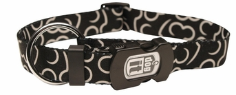 """Dogit Style Adjustable Nylon Collar with plastic snap & ID plate- Bones, Black, Large 3/4""""x 16""""-22"""" , From Hagen"""