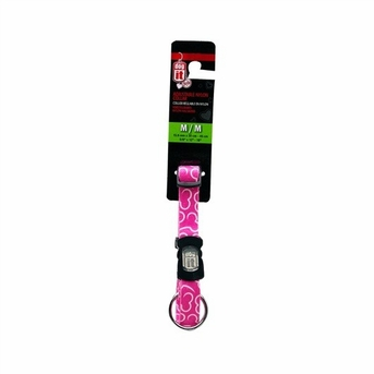 """Dogit Style Adjustable Nylon Collar with plastic snap & ID plate- Bones, Pink, Large 3/4""""x 16""""-22"""" , From Hagen"""