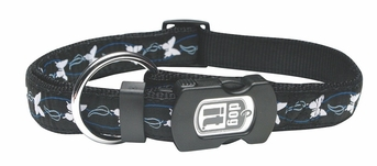 """Dogit Style Adjustable Nylon Collar with plastic snap & ID plate- Butterfly, Blue on Black nylon, Large 3/4""""x 16""""-22"""" , From Hagen"""
