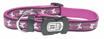 """Dogit Style Adjustable Nylon Collar with plastic snap & ID plate- Butterfly, Purple on Purple nylon, Large 3/4""""x 16""""-22"""" , From Hagen"""