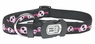 "Dogit Style Adjustable Nylon Collar with plastic snap & ID plate- Electric Skulls, Pink on Black nylon, Large 3/4""x 16""-22"" , From Hagen"