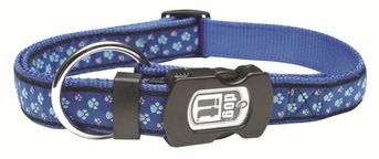 """Dogit Style Adjustable Nylon Collar with plastic snap & ID plate- Footloose, Blue on Blue nylon, X-Large 1""""x 18""""-26"""" , From Hagen"""