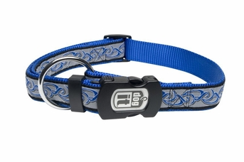 """Dogit Style Adjustable Nylon Collar with plastic snap - Inked, Blue on Blue nylon, Small 1/2""""x 10""""-16"""" , From Hagen"""