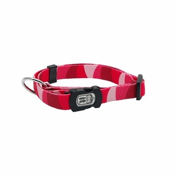 """Dogit Style Adjustable Nylon Collar with plastic snap - Wild Stripes, Red, Small 3/8""""x 10""""-16"""" , From Hagen"""