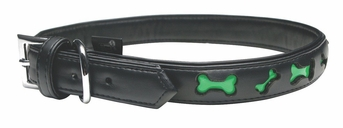 """Dogit Style Faux Leather Collar - Bones, Black with Lime reflective bones, X-Large, 1""""x 24"""", From Hagen"""