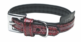 """Dogit Style Faux Leather Collar - Ibiza, Red, Medium, 5/8""""x 16"""", From Hagen"""