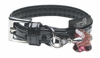 """Dogit Style Faux Leather Collar - Milano, Black with pink butterfly glass pendent, X-Small, 7/16""""x 7.8"""", From Hagen"""