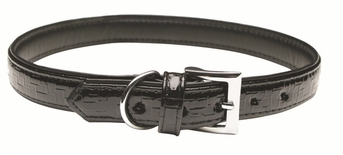 """Dogit Style Faux Leather Collar - Milano, Black, X-Large, 1""""x 24"""", From Hagen"""