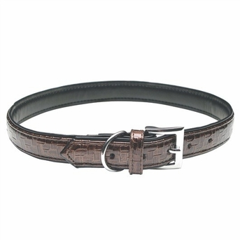 """Dogit Style Faux Leather Collar - Milano, Brown, Small, .47""""x 11.8"""", From Hagen"""