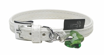 """Dogit Style Faux Leather Collar - Milano, White with green butterfly glass pendent, X-Small, 7/16""""x 7.8"""", From Hagen"""