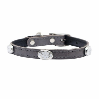 """Dogit Style Leather Collar Grey with Pewter Flower Charms, 1/2""""x 12""""  , From Hagen"""