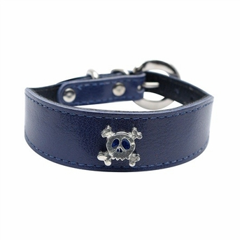 """Dogit Style Leather Wide Collar Blue with Pewter Skull Charm, 1""""x 8-10"""", From Hagen"""