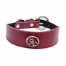 "Dogit Style Leather Wide Collar Red with Pewter Serenity Charm,  1-1/8""x 10-12"" , From Hagen"