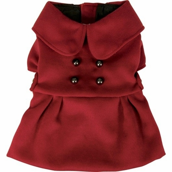 Dogit Style Military Peacoat, Red, Large, From Hagen