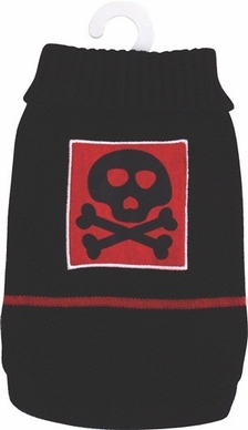 Dogit Style Sweater, Black with Red Skull, Small, From Hagen