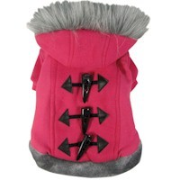 Dogit Style Sweater with Faux Fur Trimmed Hoodie, Pink, Large, From Hagen