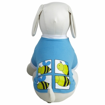 Dogit Style T-Shirt, Blue with Bee design, Medium, From Hagen
