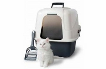 Petmate Deluxe Hooded Litter Pan Set With Microban Assorted Large
