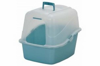 Petmate Translucent Hooded Litter Pan Set Assorted Pearl Pink Blue Jumbo