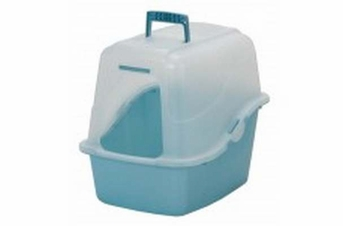 Petmate Translucent Hooded Litter Pan Set Assorted Pearl Pink Blue Large