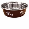 Ethical Pet Barcelona Matte and Stainless Steel Pet Dish, 32-Ounce, Chocolate