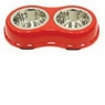 Ethical Pets Color Burst Double Diner Bowl, Medium, Red