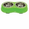 Ethical Pets Color Burst Double Diner Bowl, Small, Green