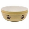 Ethical Stoneware Dish-Spot Crackle Dog Dish- Sand 7 Inch