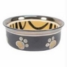 Ethical Stoneware Dish-Spot Ritz Copper Rim Dog Dish- Tiger Stripe 5 Inch