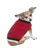 Fashion Pet Embroidered Color Block Turtleneck Dog Sweater, Medium, Red