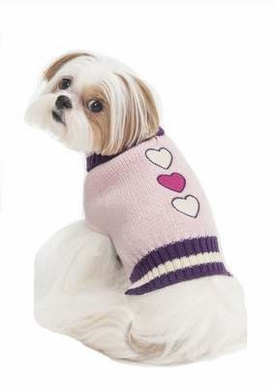 Fashion Pet Embroidered Color Block Turtleneck Dog Sweater, Small, Pink