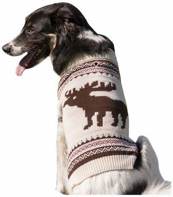 Fashion Pet Moose Pattern Dog Sweater, X-Small, Cream