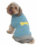 Fashion Pet Striped Bone Patch Dog Sweater, Large, Turquoise