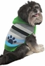 Fashion Pet Stripes and Paw Print Dog Hoodie, X-Small, Green