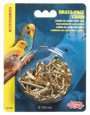 Living World Brass Cage Chain, 3', From Hagen