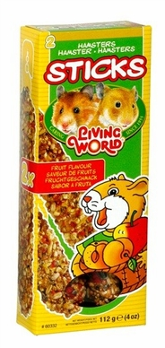 Living World Hamster Fruit Sticks, 4 oz, From Hagen