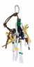 Living World Small Wood Peg w/Ropes, Leather Strips w/Beads  , From Hagen