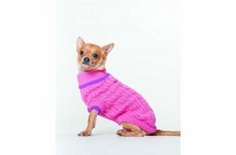 lookin' good! by FASHION PET Classic Cable Sweater Pink in XXX-Small