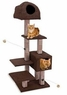 Dual Hide-Away & Lounge Tower with Bamboo Rubbing Posts, Brown - 16 x 22 x 59 Inches (WxDxH)