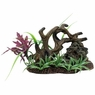 Marina Twisted Driftwood w/Rock+Plants, Medium, From Hagen