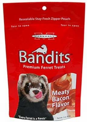 Marshall Bandits Ferret Treat, 3-Ounce, Meaty Bacon