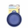 Petmate 23367 Silicone Round 1.5-Cup Travel Bowl for Pets, Navy Blue