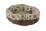 Precision Shearling Round Bed - Green Spot Plush-Tan Corduroy 21in