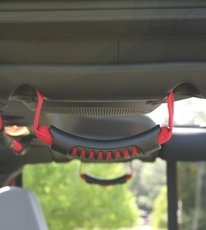Rear Side Grab Handles, Red, 07-17 Jeep Wrangler Unlimited by Rugged Ridge
