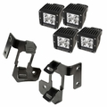 ( 1123233 ) A-Pillar Light Mount Kit, Semi-Gloss Black, Cube LED, 07-17 Wrangler by Rugged Ridge