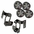 ( 1123232 ) A-Pillar Light Mount Kit, Semi-Gloss Black, Round LED, 07-17 Wrangler by Rugged Ridge